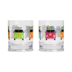 Glass tumbler Camper Smiles 2pk. 31 cl Flamefield