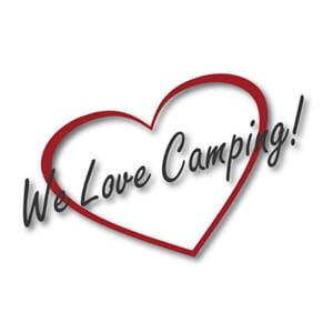 "Klistremerke ""We Love Camping"" stor"